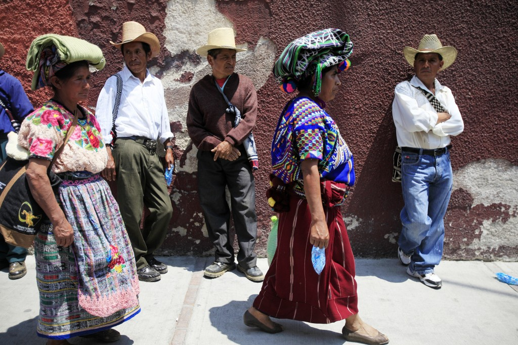 Women take part in a protest in Guatemala City